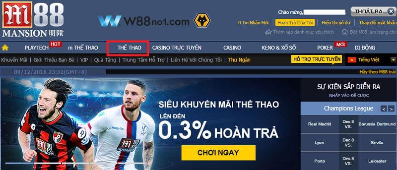 Trang web cá độ bóng đá trực tuyến M88